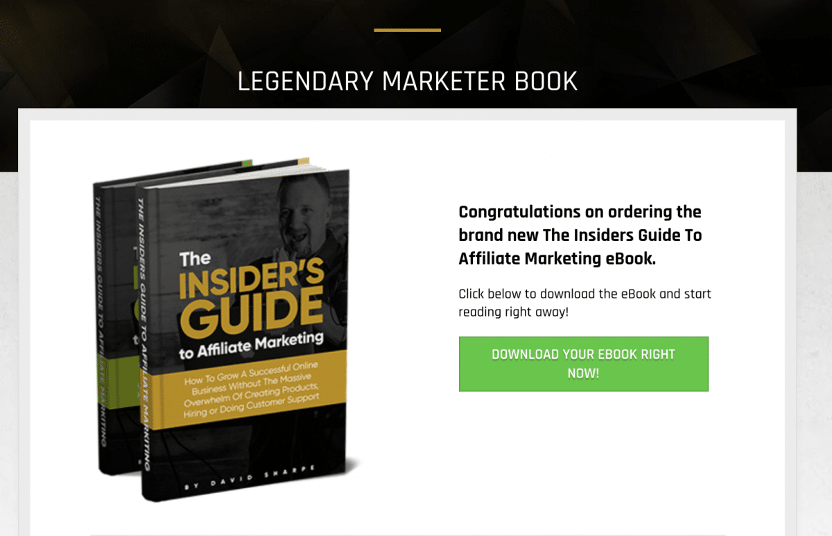 Legendary marketer's ebook download page.